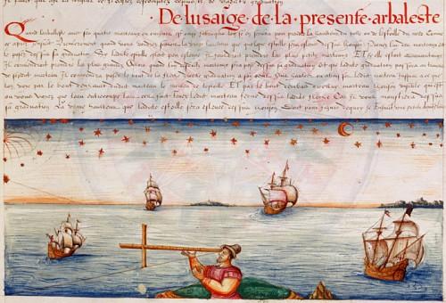 Utilisation de l'arbalestrille, 1583, par Jacques de Vaulx