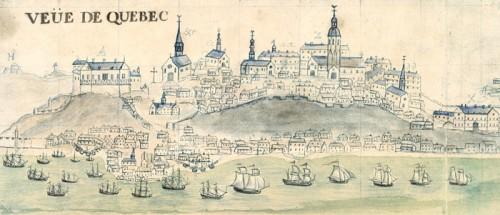 Le château St-Louis, détail de la Vue de Québec et Carte figurative du promt secours envoyé…au vaisseau du Roy l'Éléphant, 1729, par Mahier