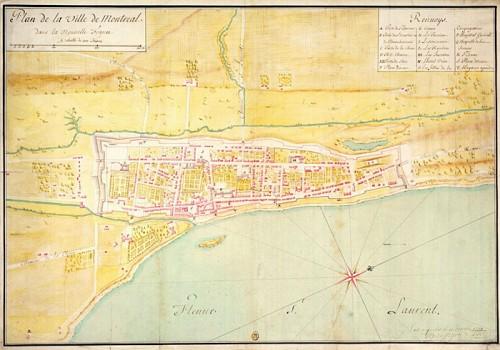 Plan de la ville de Montréal en 1734