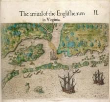 L'arrivée des Anglais en Virginie, illustrée par Theodor de Bry