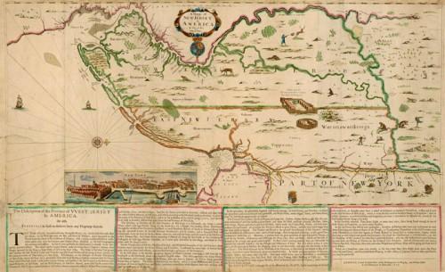 Carte du New Jersey en Amérique, 1678, tiré de l'atlas Blathwayt