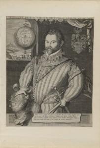 Franciscus Draeck Nobillissimus… (Portrait de Sir Francis Drake), vers 1583, attribué à Jodocus Hondius