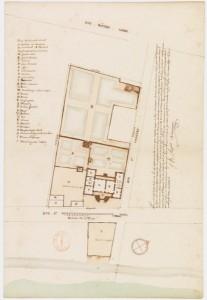 Plan de l'hôtel du marquis de Vaudreuil gouverneur de la Nouvelle-France, Montréal (Québec), 1726-1727, par Chaussegros de Léry, Jean-Baptiste Angers, René Decouagne