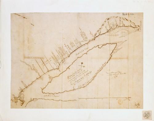 Carte depuis Québec jusque au cap de Tourmente, 1641, par Jean Bourdon