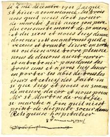 Contrat d'engagement de Joseph St-Yves