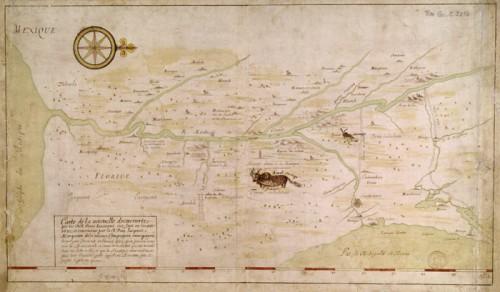 Carte de la nouvelle découverte que les RR. Pères Jésuites on fait en l'année 1672 et continuée par le R. Père Jacques Marquette […] en l'année 1673