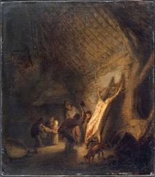 L'abattage du porc, Adriaen van Ostade (1610-1684)