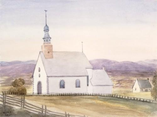 Église Sainte-Foy près de Québec, 1840, par Millicent Mary Chaplin