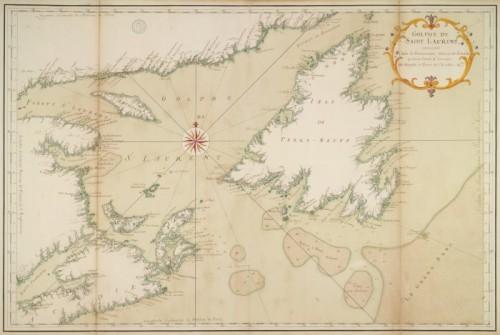 Golphe de Saint-Laurent, contenant l'Isle de Terre-Neuve, Detroit de Belle-Isle, entrée du Fleuve St-Laurent, Isle Royale, et partie de l'Acadie