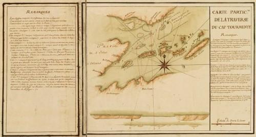 Carte particulière de la traverse du cap Tourmente (détail), 1733, par J.-N. Bellin et H. des Herbiers de Lestanduère