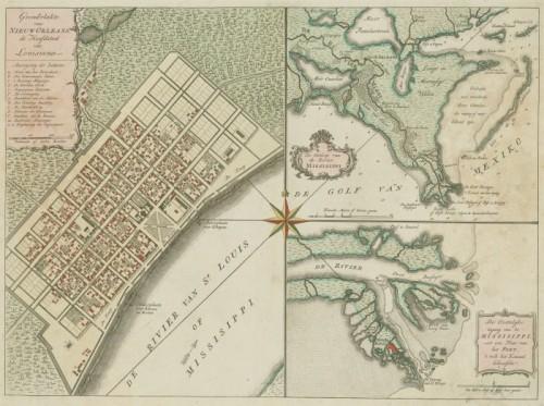 Carte de la Nouvelle-Orléans et du fleuve Mississipi