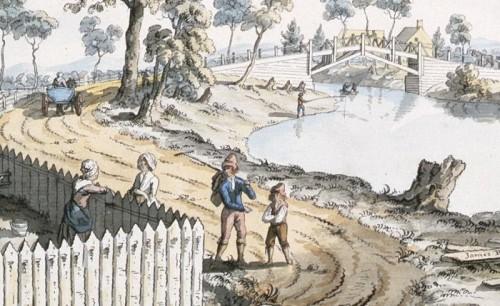 Vue du pont sur la rivière Berthier (détail), 1785, par James Peachey