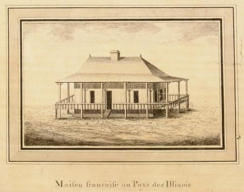 Maison française au Pays des Illinois, détail de la Carte générale du cours de la rivière de l'Ohio…, vers 1796, Victor Collot