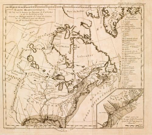 Carte minéralogique où l'on voit la nature des terrains du Canada et de la Louisiane, 1752, par Philippe de Buache et J.-É. Guettard