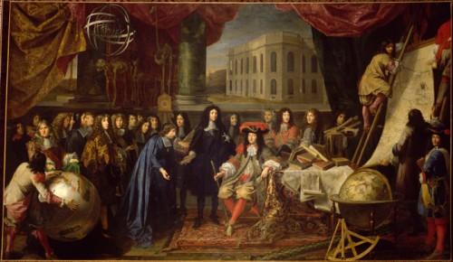 Colbert, Ministre des finances, présente à Louis XIV les membres de l'Académie Royale des Sciences crée en 1667