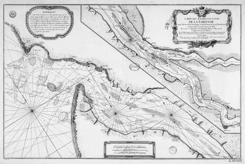 Carte des entrées et cours de la Gironde avec parties de la Dordogne et de la Garonne jusque Bordeauxhttp://www.museedelhistoire.ca/musee-virtuel-de-la-nouvelle-france., 1767, par J.-N. Bellin