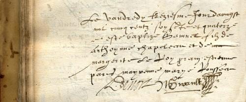Baptistaire de Samuel de Champlain, détail