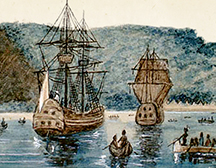 Illustration par Walter Baker de Cartier arrivant à Stadaconé.