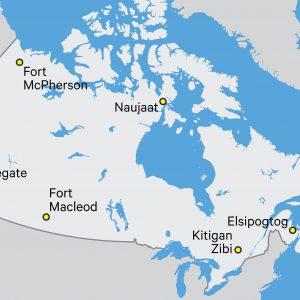 Carte de certaines communautés autochtones au Canada
