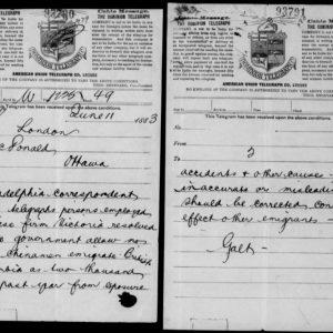 Télégramme du diplomate canadien sir Alexander Tilloch Galt au premier ministre sir John A. Macdonald