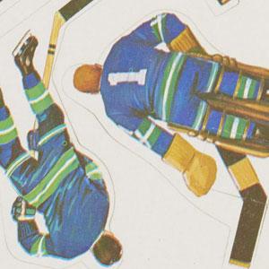 Autocollants du jeu de hockey sur table Coleco à l'effigie de joueurs des Canucks