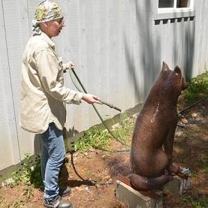 Création de la patine pour la sculpture du loup en bronze au studio de l'artiste, à Minden (Ontario)